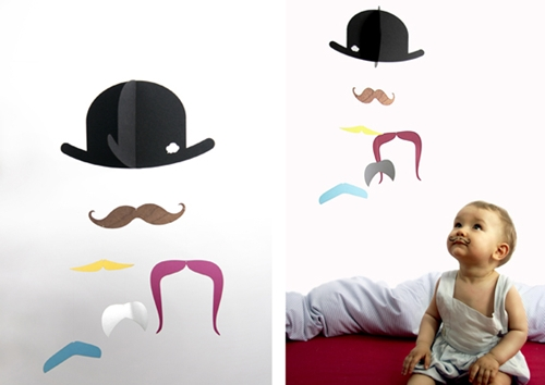 Móvil infantil Mr. Moustache
